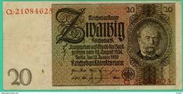 20 Mark - Reichsbanknote - Allemagne - Q.21084625 - 22 Janvier 1929 - TTB + - - [ 3] 1918-1933 : République De Weimar