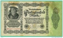 Allemagne - 50 000 Mark -  Billet N° H.00724989 - Berlin 19/11/1922 - TB+ - [ 3] 1918-1933 : Weimar Republic