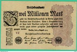 2 Million De Mark  - Allemagne - 9 Août 1923 - N° YZ  - Sup - - [ 3] 1918-1933 : Repubblica  Di Weimar
