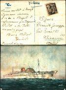 88286) Cartolina-con Motonave Franca C. Firmata Andel-viaggiata - Barche