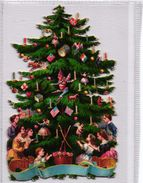 Circa1880 Litho Prints Scraps VG Christmas Tree 10X6,5cm, 2 PERES NOEL 8X13cm, 2 Balloons 5,5X9cm DIE CUT, SANTA CLAUS - Père-Noël