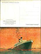 88287) Cartolina-con Transatlantico -augustus-. Firmata Fulvio Miani-nuova - Barche