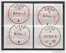 BELGIQUE COB ATM 1 LIEGE 3001, Set De 4, 06 - 09 - 14 - 59 Fr OBL  . (7A98) - Postage Labels