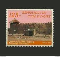 IVORY COAST COTE D'IVOIRE VESTIGES IVOIRIENS RELIGION MOSQUEE ARCHITECTURE 1985 YT 710B (RARE) MNH - Ivory Coast (1960-...)
