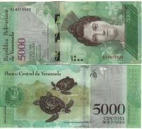 VENEZUELA. Attractive New  5'000 Bolivares   ( Turtles ) Pnew.   2016  UNC. - Venezuela
