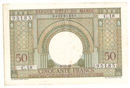 Maroc. Protectorat Français. Billet De Banque De 50 Francs Type 1949 Format Réduit (2 Décembre). Etat Moyen. Rousseurs. - Marokko