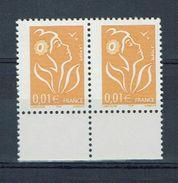 PRIFIX / FRANCE N° 3731a  (légendre I.T.V.F.) Une PAIRE HORIZONTALE Décentrée Neufs** BAS De FEUILLE - 2004-08 Marianne De Lamouche