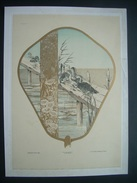 HABERT-DYS (1850-1930) Gravure De 1886 Chromo Lithographie Originale Et Signée ART NOUVEAU..Décor EVENTAIL, CANARD, JONC - Stampe & Incisioni