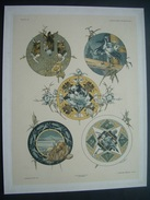 HABERT-DYS (1850-1930) Gravure De 1886 Chromo Lithographie Originale Et Signée ART NOUVEAU..Décor ANE, HERON, HOMARD, - Stampe & Incisioni