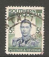 005275 Southern Rhodesia 1937 5/- FU - Southern Rhodesia (...-1964)