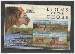 BOTSWANA, 2014, MNH,LIONS , LIONS OF THE CHOBE,PHILAKOREA EXHIBITION OVERPRINTED SHEETLET - Big Cats (cats Of Prey)