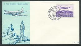 1959 SAN MARINO FDC RE.RU. VOLO SAN MARINO LONDRA NO TIMBRO ARRIVO - KS7-9 - FDC
