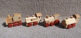 Kinder 1996 : Série Complète Les Locomotives En Bois 2 (4 Figurines) - Kinder & Diddl