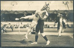 1912 Sweden Stockholm Olympics RP Official Postcard 276. Klein, Russia / Asikainen, Finland Wrestling - Olympic Games