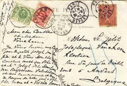 """1905 ZICHTKAART """"PARIS- LE GRAND PALAIS"""" MET FRANSE PZ  V. PARIS DEPART N. ANVERS 1 MET TX3+5 ZIE SCAN(S) - Taxes"""