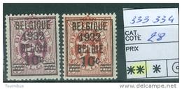 N°  333-334    Xx  1932 - Ongebruikt