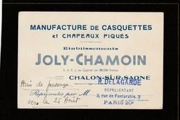 Carte De Visite - Saône Et Loire - Chalons Sur Saône - Joly-Chamoin - Manufacture Casquettes Et Chapeaux - Cartes De Visite