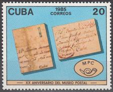 CUBA 1985, POSTAL MUSEUM, COMPLETE MNH SET, GOOD QUALITY, *** - Unused Stamps