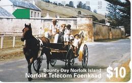 TARJETA DE LA ISLA NORFOLK DE UN CABALLO (CABALLO-HORSE) - Isla Norfolk