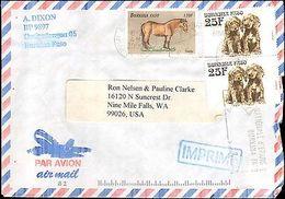 2000 BURKINA FASO MULTI STAMP ( HORSES & DOGS ) TO UNITED STATES - Francobolli