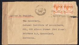 1940 Letter To Australia   Singapore Censor Mark & Tape - Straits Settlements