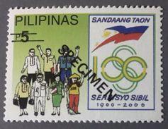 Philippines 2000 Specimen - Civil Service Commission Centennial, Police, Teacher 1V MNH - Police - Gendarmerie