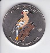 MONEDA DE CUBA DE 1 PESO DEL AÑO 2001 DE EL PAJARO CARPINTERO  (COIN) (BIRD-PAJARO) - Cuba