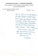 L.A.S. Vladimir JANKÉLÉVITCH - (1903-1985) - Philosophe Et Musicologue -  Professeur à La Sorbonne - Documents Historiques