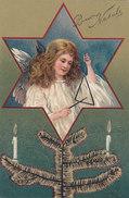 Engel Mit Triangel - Prägelitho M Goldtiefdruck - 1910      (A-45-120916) - Weihnachten