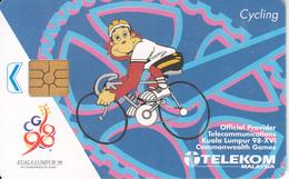 "MALAYSIA(chip) - Kuala Lumpur ""98/XVI Commonwealth Games/Cycling, Telecom Malaysia Telecard RM20, Chip GEM2, Used - Malaysia"