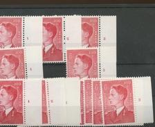 100F POLYVALENT  Roi Baudouin De Belgique 1075 **   13 Tp Avec Numéros De Planches  Sans Charnière - 1953-1972 Anteojos