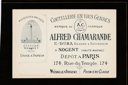 Carte De Visite - Haute-Marne - Nogent En Bassigny - Alfred Chamarande - Coutellerie En Tous Genres - Duba Successeur - Tarjetas De Visita