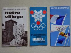 JO Jeux Olympiques Grenoble 68 Olympics Winter Games Programme Des épreuves Les Stations Notre Village Olympique - Kleding, Souvenirs & Andere