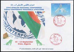ALGERIA ALGERIE 2013 - FDC - INTERPOL - POLICE - POLIZEI - POLICÍA - POLIZIA - LIONS - Löwen - Lion - Police - Gendarmerie