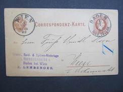 GANZSACHE Baden - Wien 1882 //// D*25535 - Briefe U. Dokumente