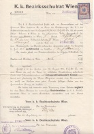Dokument K.k. Bezirksschulrat Ausgestellt 1915, 50 Heller Stempelmarke, A3 Format, Größe 34 X 21 Cm, Dok.gefaltet - Historische Dokumente