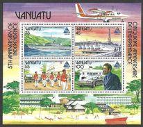VANUATU 1985 5TH ANNIVERSARY EXPO MILTARY BAND JAPAN FISHING SHIPS M/SHEET MNH - Vanuatu (1980-...)