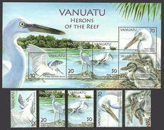 VANUATU 2007 BIRDS HERONS OF THE REEF FISH FISHES SET & SHEET MNH - Vanuatu (1980-...)