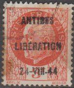 France Libération Pétain Surchargé  Antibes  Libération 24 VII 44 (E15) - Liberation