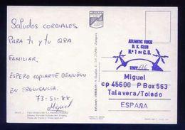 Tarjeta Postal Con Tampon *Radioaficionado* *Atlantic Voice D.X. Club... Talavera...* Ver Dorso. - Radio Amateur