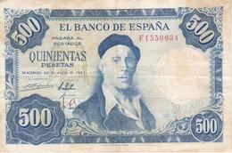 BILLETE DE ESPAÑA  DE 500 PTAS 22/07/1954 SERIE F  CALIDAD RC  ZULOAGA (BANK NOTE) - [ 3] 1936-1975 : Regency Of Franco