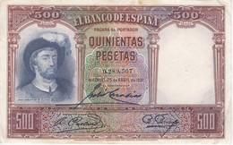 BILLETE DE ESPAÑA DE 500 PTAS DEL AÑO 1931 SIN SERIE CALIDAD  MBC - 500 Pesetas