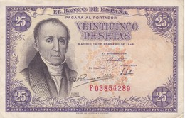 BILLETE DE ESPAÑA DE 25 PTAS DEL 19/02/1946 SERIE F  CALIDAD MBC (VF) (BANKNOTE) - [ 3] 1936-1975 : Regency Of Franco