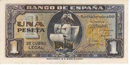 BILLETE DE ESPAÑA DE 1 PTA DEL 4/09/1940 SERIE A CARAVELA EN CALIDAD EBC (XF) (BANKNOTE) - [ 3] 1936-1975 : Régence De Franco