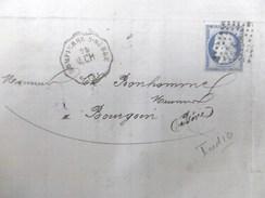 Lettre Avec Cérès N° 60C TAD Convoyeur Station Dompierre.s.Bebre Indice 10 - Marcophilie (Lettres)