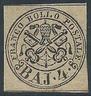 1852 STATO PONTIFICIO 4 BAY BRUNO GRIGIO CHIARO CERTIFICATO COLLA MH * - X2 - Stato Pontificio