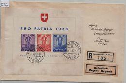 1936 Pro Patria Block Bloc W8/Bl. 2 Charge Papiermühle Bern To Burg Aargau 24.II.37 - Blocs & Feuillets