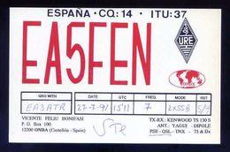 Tarjeta *Radioaficionado* *EA-5-FEN. Onda, Castellon...* Meds: 92x144 Mms. Ver Dorso. - Radio Amateur