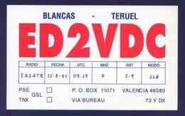 Tarjeta *Radioaficionado* *ED-2-VDC. Valencia...* Meds: 89x145 Mms. Ver Dorso. - Radio Amateur