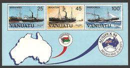 VANUATU 1984 SHIPS MAKAMBO ROCKTO WAROONGA AUSIPEX OMNIBUS SHEET MNH - Vanuatu (1980-...)